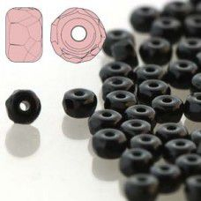 Jet 2 x 3mm Faceted Micro Spacers, Pack of 50pcs