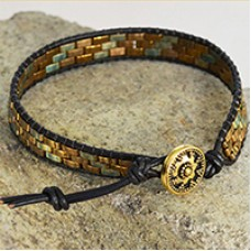 Miyuki Half-Tila Leather Wrap Bracelet - a Free Pattern from Miyuki