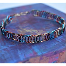 Multicoloured Artistic Wire Flat Coiled Bracelet, a Free Pattern by Meredith Roddy