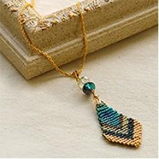 Miyuki Delica Peacock Pendant, a Free Pattern by Miyuki