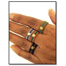 Finger Dressing Miyuki Delica Rings, A Free Pattern by Leslie Rogalski