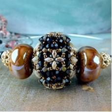 Millefiori Beaded Bead, A Free Pattern By Nela Kabelova