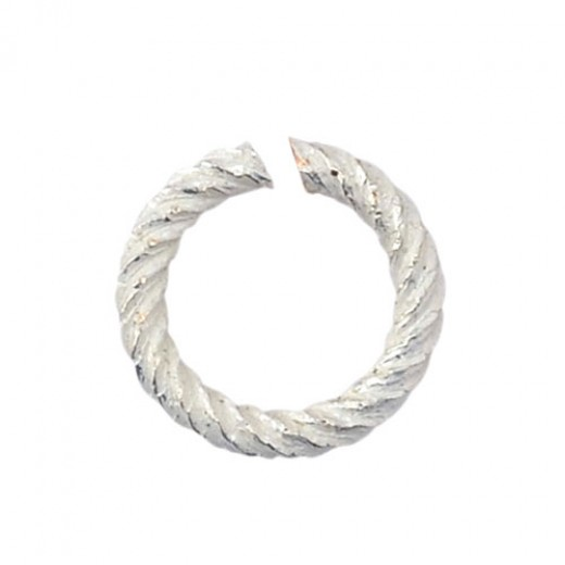 Non Tarnish Silver 18 Gauge Spiral Chain Maille Ring, I.D 3.57mm, 55 Pcs