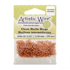 Natural 20 Gauge Chain Maille Ring, I.D 2.4mm, 250 Pcs