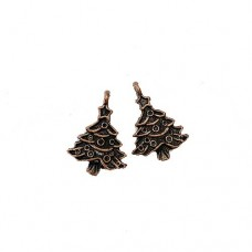 Christmas Tree Charm, 20mm, Copper Colour, Pack of 2