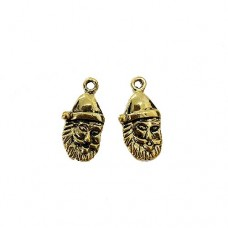 Santa Claus Charm, 23mm, Gold Colour, Pack of 2