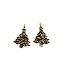 Christmas Tree Charm, 20mm, Gold Colour, Pack of 2