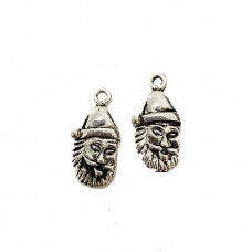 Santa Claus Charm, 23mm, Silver Colour, Pack of 2