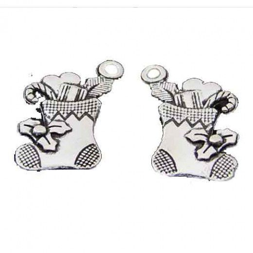 Stocking Charms, Vintage Style, Pack of 2, Silver