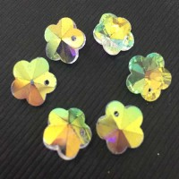 10mm Crystal AB Flower Pack of 6