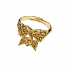 Butterfly Bezel Ring Base, Adjustable, Gold Colour, Pack of 10