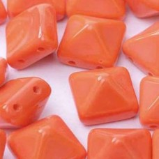 12mm Twin Hole Pyramid Beads, Orange Opaque, Pack of 5