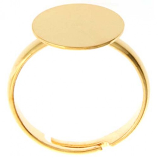 Adjustable Ring with 12mm Pad, Gold, Pack of 4
