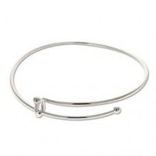 Expandable Wire Charm Bracelet, Silver Plated