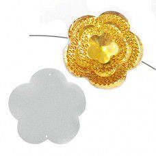 Dazzle-it Resin Glitz Sew-On Sugar Stone Flower 45mm, Gold AB