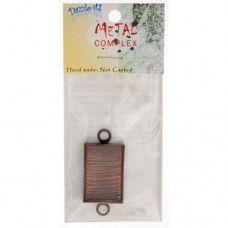 100% Antique Copper Handmade Bezel, Rectangle Link, Use with Interchangeable Bra...