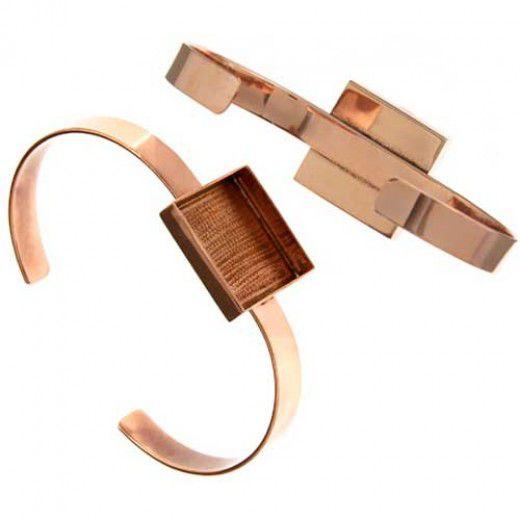 100% Copper Bezel Handmade Bracelet Cuff Square 21x4mm