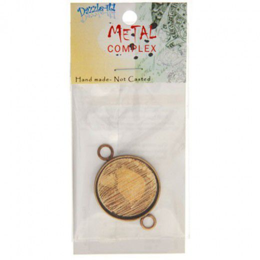 100% Antique Brass Handmade Bezel, Round Link, Use with Interchangeable Bracelet