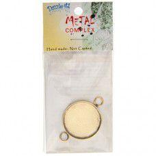 100% Brass Handmade Bezel, Round Link, Use with Interchangeable Bracelet