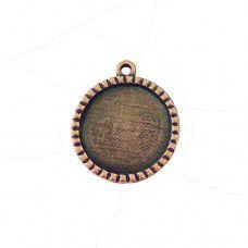 Scalloped 31 x 36mm Round Bezel, Antique Copper colour