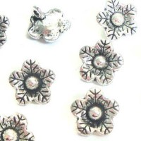 12mm Tibetan Silver Flower Charms, Pack of 6