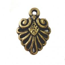 Fancy Fan Pendants, Antique Gold, Pack of 2