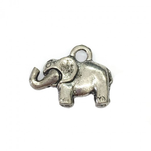 Antique Silver Elephant Pendant with Moving Trunk, 12mm