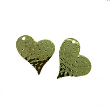 Heart Charms, Gold Colour, 32 x 26mm, Pack of 5