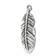 Large Boho Feather Charm 35 x 10.5mm, Antique Silver Colour