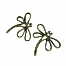 Dragonfly Charms, Gold Colour, 31 x 28mm, Pack of 2