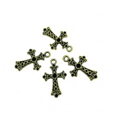 Chunky Cross Charms with Stone, Gold Colour, Pack of 4