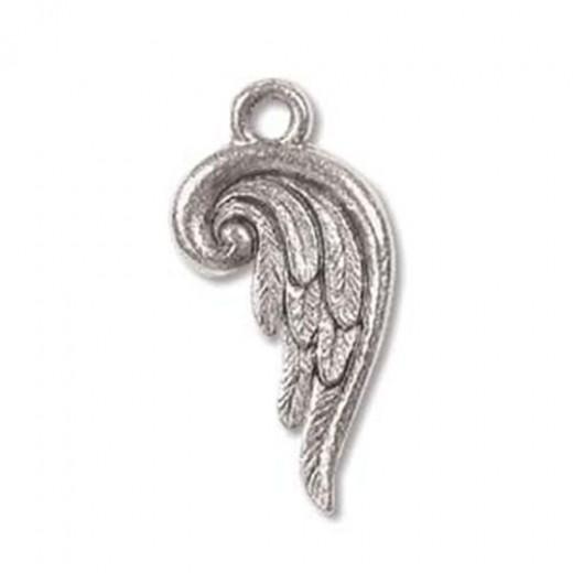 Fancy Angel Wing Charm, Antique Silver