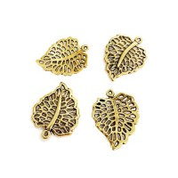 Leaf Charms, Gold Colour, 19.5 x 24.5mm, Pack of 4