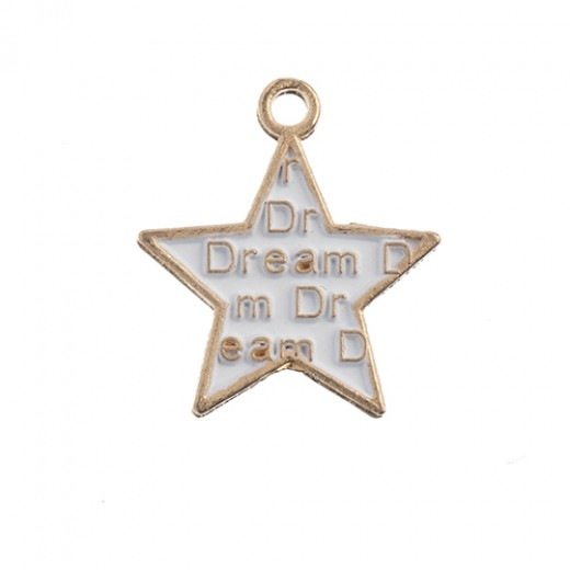 18 x 16 mm Rose Gold Framed Star with 'Dream', pack of 8 pcs