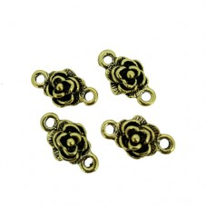 Flower Connector Charms, Gold Colour, 9 x 16mm, Pack of 4