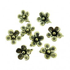 Flower Charms with Loop, Gold Colour, 15 x 16mm, Pack of 8