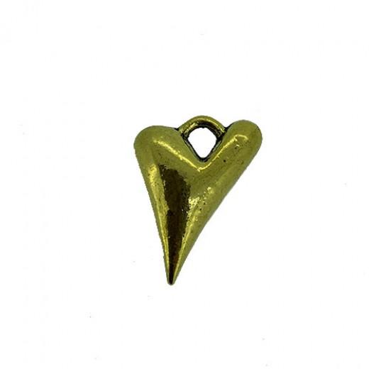 Heart Charm, Gold Colour, 18 x 24mm