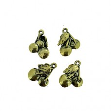 Cherry Charms, Gold Colour, 12 x 17mm, Pack of 4