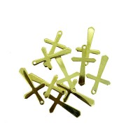 Thin Cross Charms, Gold Colour, 19 x 12mm, Pack of 20