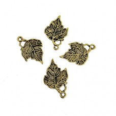 Detailed Leaf Charms, Gold Colour, 17 x 26mm, Pack of 4