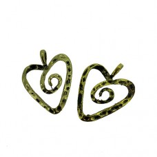 Heart Outline Charms, Gold Colour, 27 x 34mm, Pack of 2