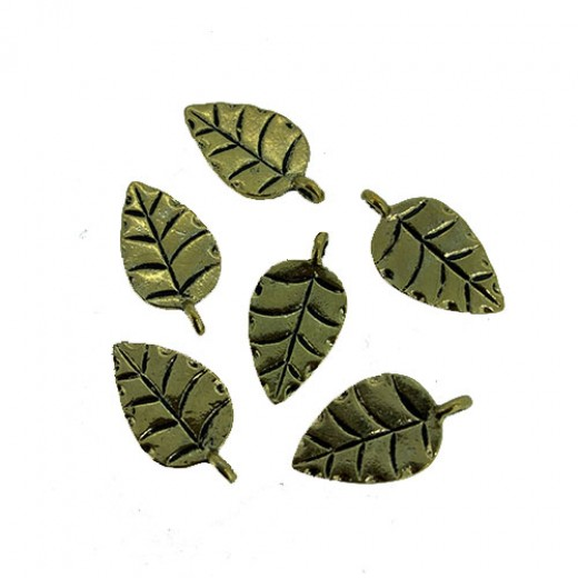 Leaf Charms, Gold Colour, 12 x 22mm, Pack of 6