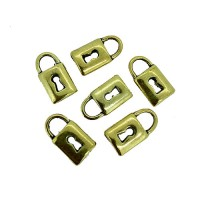 Padlock Charms, Gold Colour, 8 x 14mm, Pack of 6
