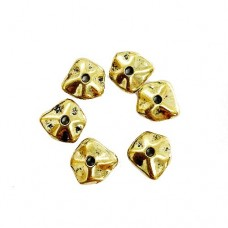 Wavy Spacer Beads, Gold Colour, 12.5 x 12mm, Pack of 6