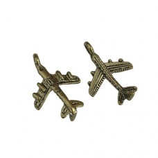 Gold Plane Charms, Gold Colour, 16 x 23mm, Pack of 2