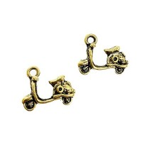 Gold Scooter Charms, Gold Colour, 19 x 15mm, Pack of 2