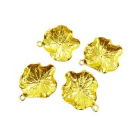 Leaf Charms, Gold Colour, 22 x 28mm, Pack of 4