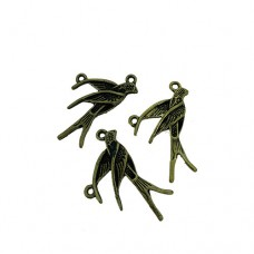 Swallow Charms, Gold Colour, 18 x 31mm, Pack of 3