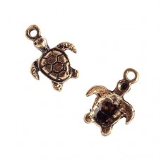 Antique Gold Turtle Charm / Pendant, Pack of 2