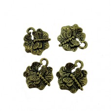 Insect on Leaf Charms, Gold Colour, 16 x 18mm, Pack of 4